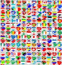 world flag hearts vector image
