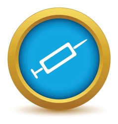 Gold syringe icon vector