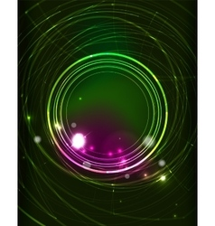 Glowing circle in dark space vector