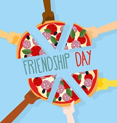 International friendship day 30 july pizza pieces vector