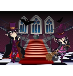 Gothic stairs and witch7 vector