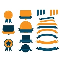 Ribbons and shield banners set vector