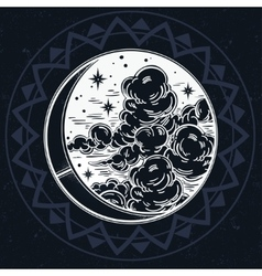 Intricate hand drawn crescent moon vector