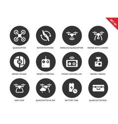 Flying drones icons on white backgrond vector