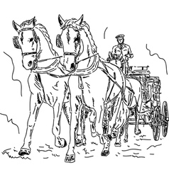 Horse carriage vector