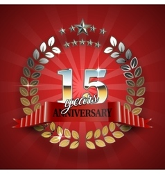 Anniversary 15th gold wreath with red ribbon vector