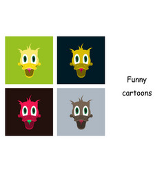 Assembly of flat icons on theme funny animals duck vector