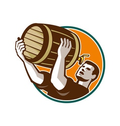 Bartender pouring drinking keg barrel beer retro vector