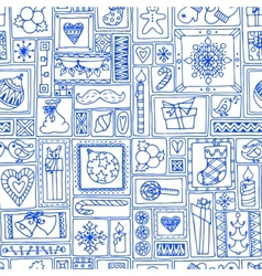 Blue seamless Christmas and New Year pattern vector image
