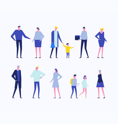 Children and adults - flat design style set of vector
