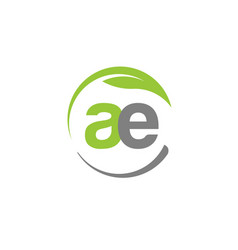 creative letter ae with circle green leaf logo vector image vector image
