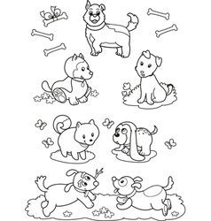 Cute cartoon dogs coloring page vector image vector image
