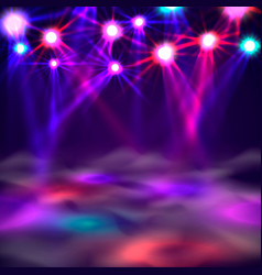 Dance floor banner light and smoke on stage vector