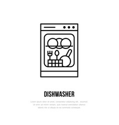 Dishwasher flat line icon household appliances vector
