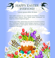 Easter cake egg and flower poster template vector