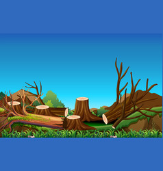 field scene with chopped woods vector image