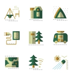 Flat simple green icons for camping vector image
