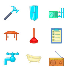 Foreman icons set cartoon style vector
