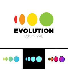 four symbol from elipse to circle logo evolution vector image vector image