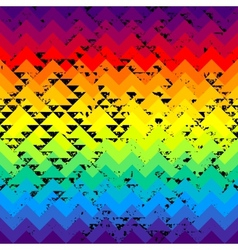 Grunge triangles pattern on rainbow colorful vector