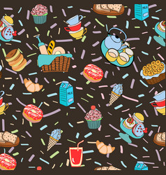 Hand-drawn cartoon background with food and vector