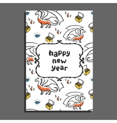 Happy new year greeting card with dragon and vector image