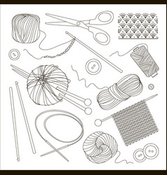 Knitting and crochet set vector