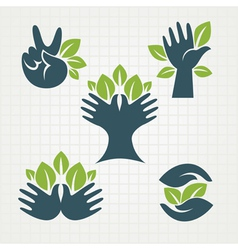 Leaves and fingers vector