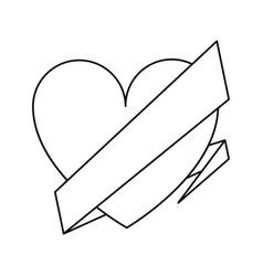 Love heart wrap ribbon celebration romantic line vector