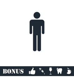 Man standing silhouette icon flat vector image vector image