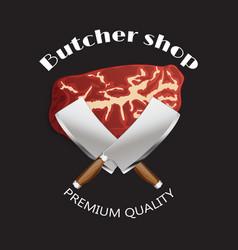 meat butcher shop background poster vector image