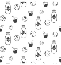 Milk and cookie seamless pattern vector
