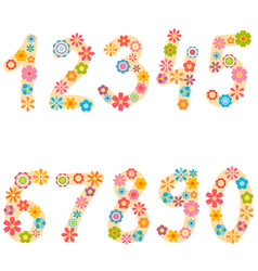 numbers from zero to nine with colorful flowers vector image