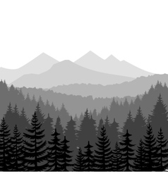 Pine forest and mountains backgrounds vector