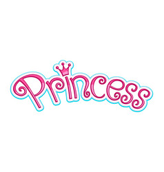 pink girly princess logo text graphic with crown vector image