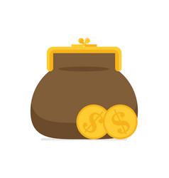 purse and coin modern flat vector image vector image
