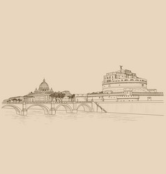 Rome cityscape with st peters basilica and castle vector