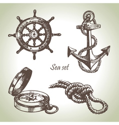Sea set of nautical design elements vector image vector image