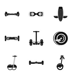 Self balancing scooter icon set simple style vector