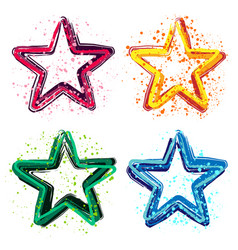 set of grunge colorful stars vector image vector image