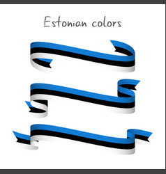set of three ribbons with the estonian tricolor vector image vector image
