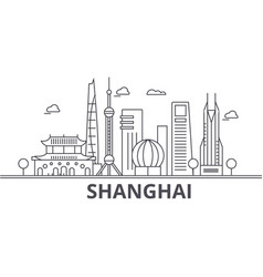 shanghai architecture line skyline vector image vector image