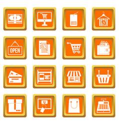shopping icons set orange vector image