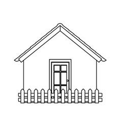 Silhouette comfortable facade house with wooden vector