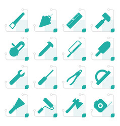 Stylized construction and building tools icons vector