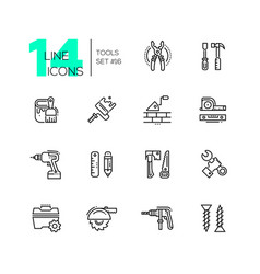 tools - modern single line icons set vector image