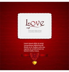 valentine card with ribbon and sample text2 vector image vector image