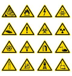 Warning and hazard symbols on yellow triangles vector