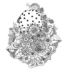 Zentangl flowers mushroom vector