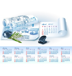 Calendar for 2013 with architectural elements vector